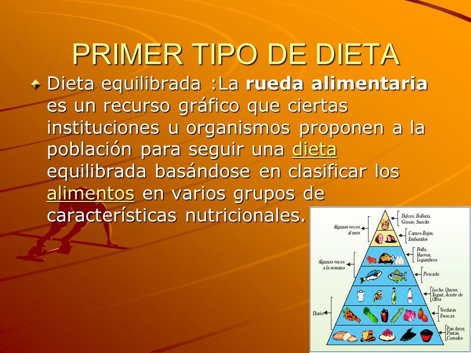 PRIMER TIPO DE DIETA Dieta equilibrada :La rueda alimentaria es un recurso gráfico que ciertas instituciones u organismos proponen a la población para
