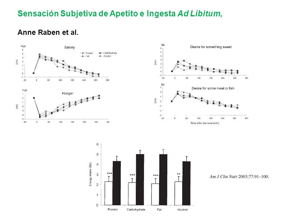 Sensación Subjetiva de Apetito e Ingesta Ad Libitum, Anne Raben et al.