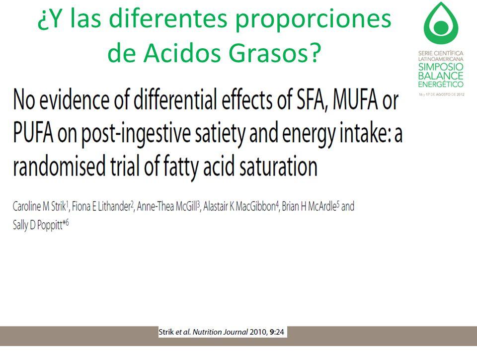 ¿Y las diferentes proporciones de Acidos Grasos?
