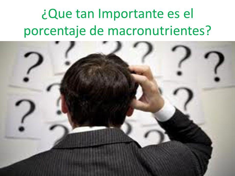 ¿Que tan Importante es el porcentaje de macronutrientes?