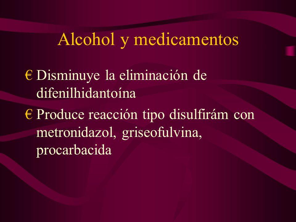 Alcohol y medicamentos Disminuye la eliminación de difenilhidantoína Produce reacción tipo disulfirám con metronidazol, griseofulvina, procarbacida
