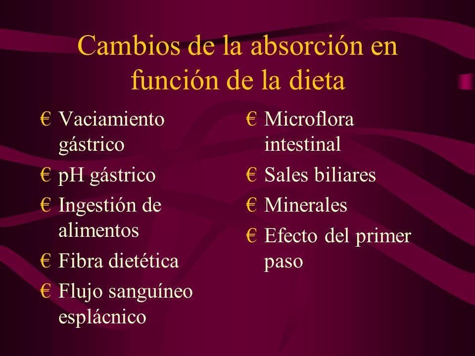 Cambios de la absorción en función de la dieta Vaciamiento gástrico pH gástrico Ingestión de alimentos Fibra dietética Flujo sanguíneo esplácnico Microflora intestinal Sales biliares Minerales Efecto del primer paso
