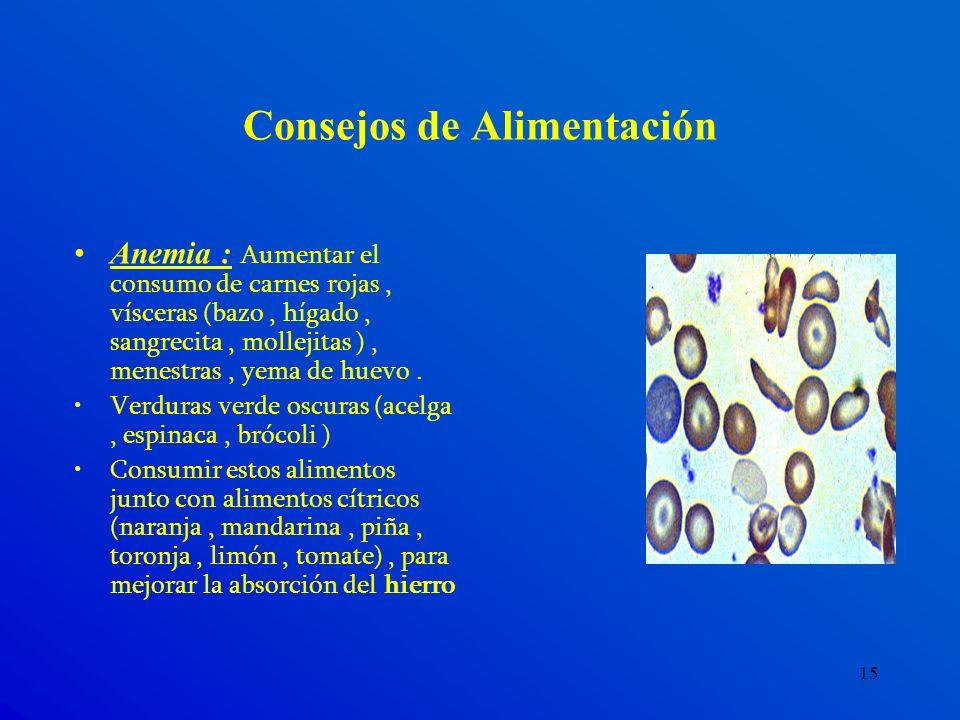 15 Consejos de Alimentación Anemia : Aumentar el consumo de carnes rojas, vísceras (bazo, hígado, sangrecita, mollejitas ), menestras, yema de huevo.