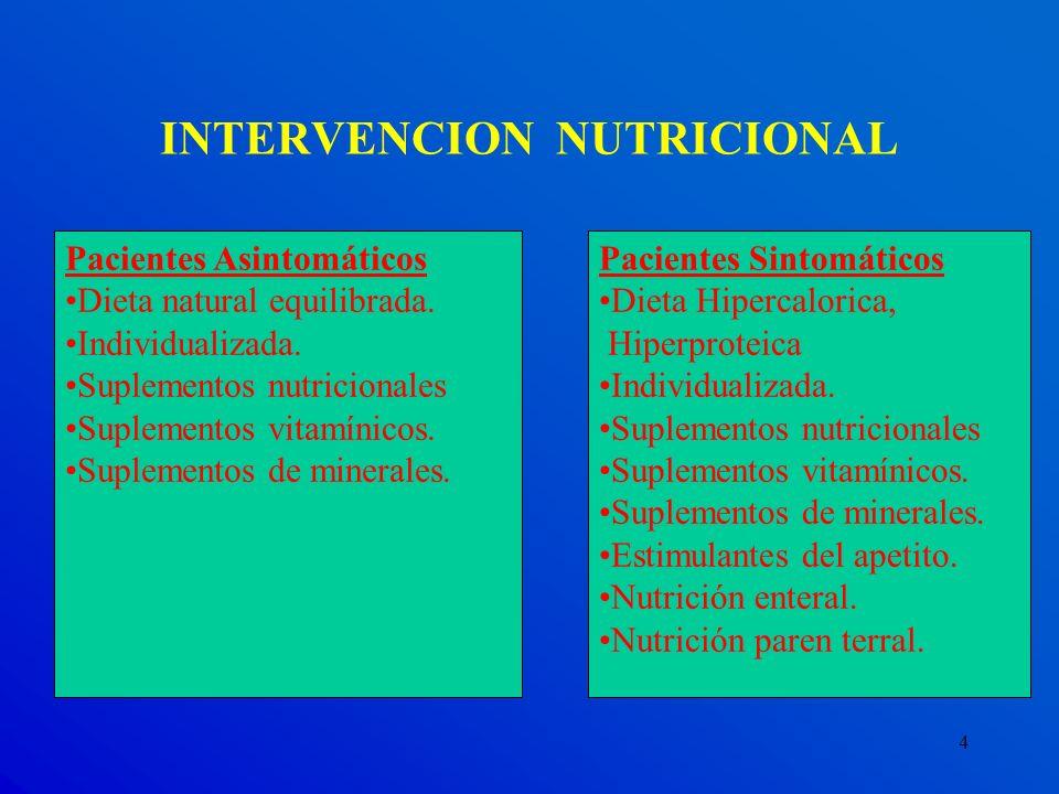 4 INTERVENCION NUTRICIONAL Pacientes Asintomáticos Dieta natural equilibrada. Individualizada. Suplementos nutricionales Suplementos vitamínicos. Supl
