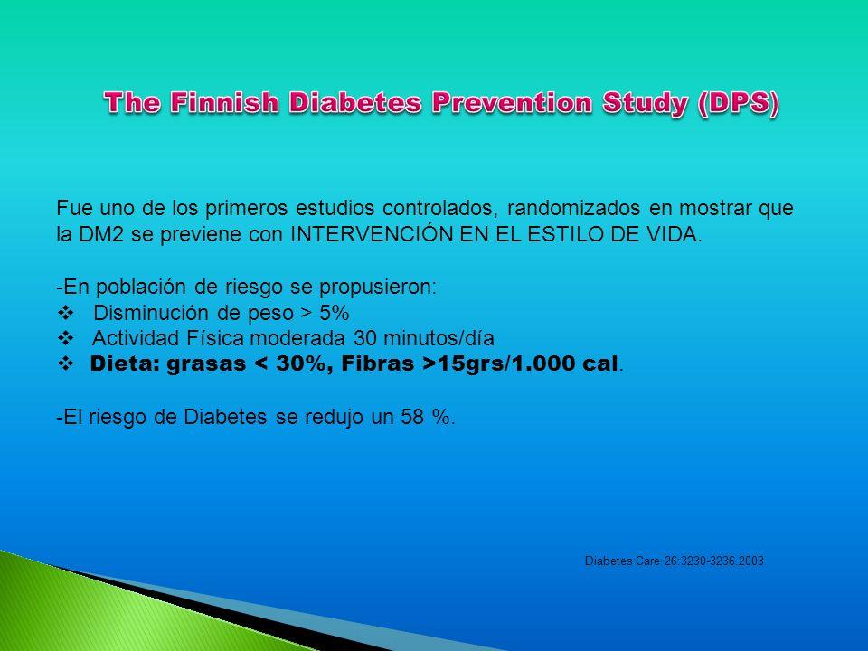Fue uno de los primeros estudios controlados, randomizados en mostrar que la DM2 se previene con INTERVENCIÓN EN EL ESTILO DE VIDA. -En población de r