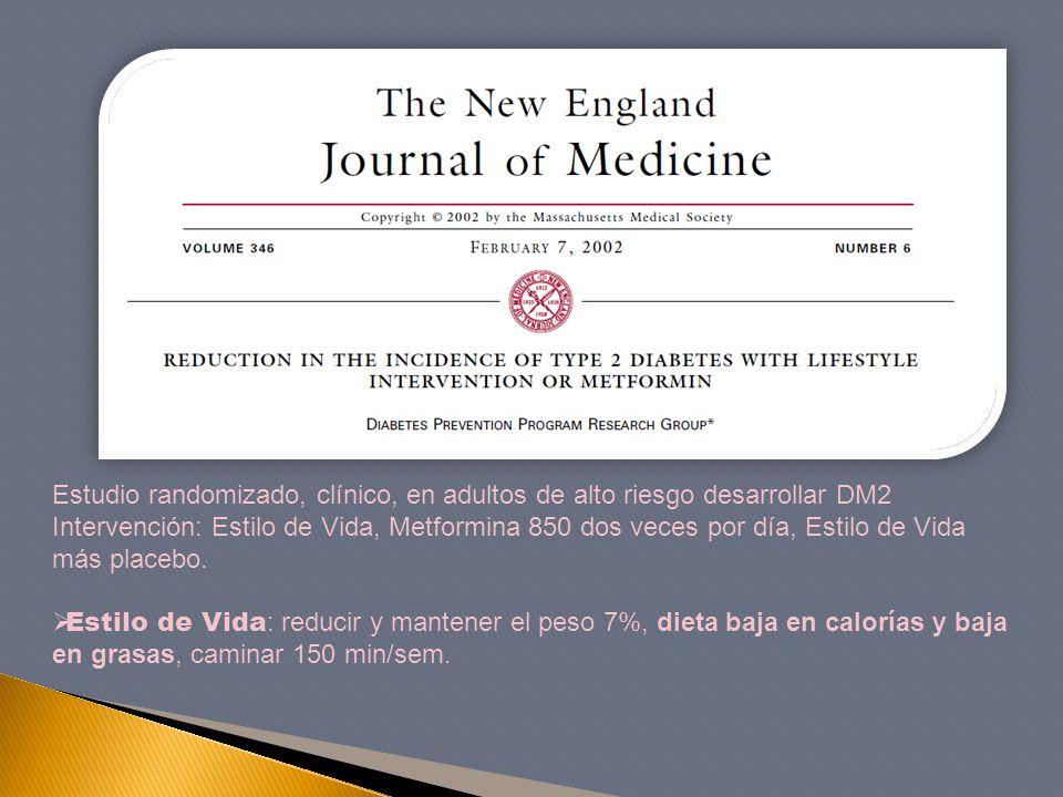 Estudio randomizado, clínico, en adultos de alto riesgo desarrollar DM2 Intervención: Estilo de Vida, Metformina 850 dos veces por día, Estilo de Vida más placebo.