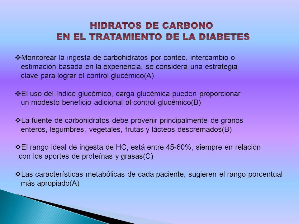 Monitorear la ingesta de carbohidratos por conteo, intercambio o estimación basada en la experiencia, se considera una estrategia clave para lograr el