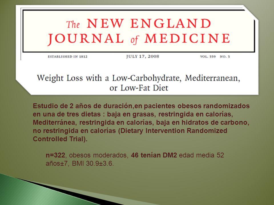 Estudio de 2 años de duración,en pacientes obesos randomizados en una de tres dietas : baja en grasas, restringida en calorías, Mediterránea, restring