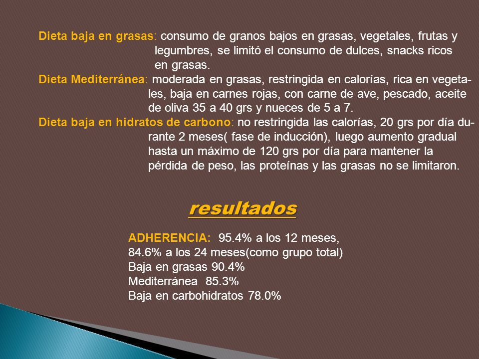 Dieta baja en grasas: consumo de granos bajos en grasas, vegetales, frutas y legumbres, se limitó el consumo de dulces, snacks ricos en grasas. Dieta
