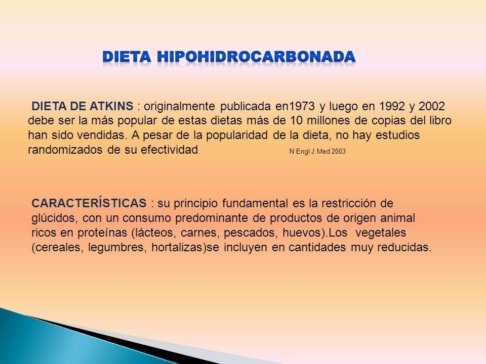 CARACTERÍSTICAS : su principio fundamental es la restricción de glúcidos, con un consumo predominante de productos de origen animal ricos en proteínas (lácteos, carnes, pescados, huevos).Los vegetales (cereales, legumbres, hortalizas)se incluyen en cantidades muy reducidas.