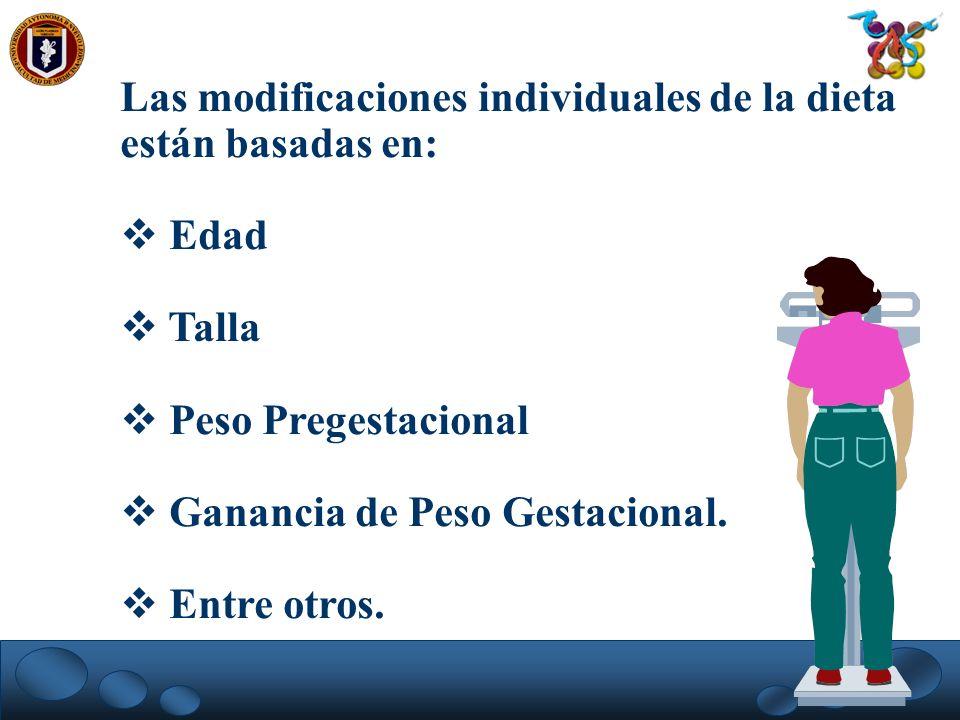 Las modificaciones individuales de la dieta están basadas en: Edad Talla Peso Pregestacional Ganancia de Peso Gestacional. Entre otros.