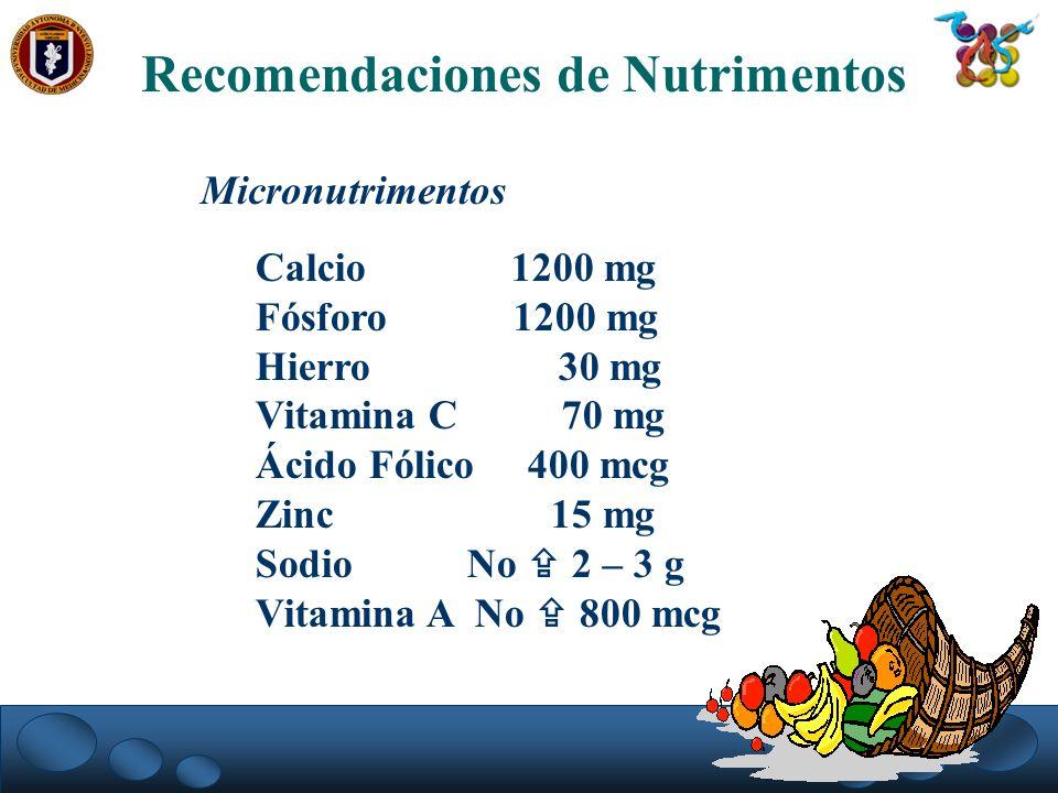 Recomendaciones de Nutrimentos Micronutrimentos Calcio 1200 mg Fósforo 1200 mg Hierro 30 mg Vitamina C 70 mg Ácido Fólico 400 mcg Zinc 15 mg Sodio No