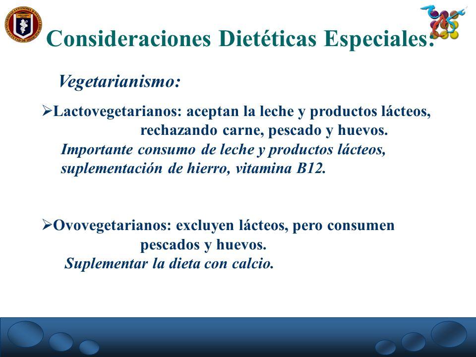 Consideraciones Dietéticas Especiales: Vegetarianismo: Lactovegetarianos: aceptan la leche y productos lácteos, rechazando carne, pescado y huevos. Im