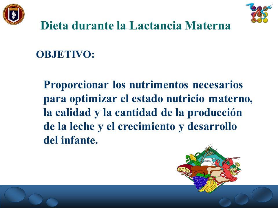Dieta durante la Lactancia Materna OBJETIVO: Proporcionar los nutrimentos necesarios para optimizar el estado nutricio materno, la calidad y la cantid