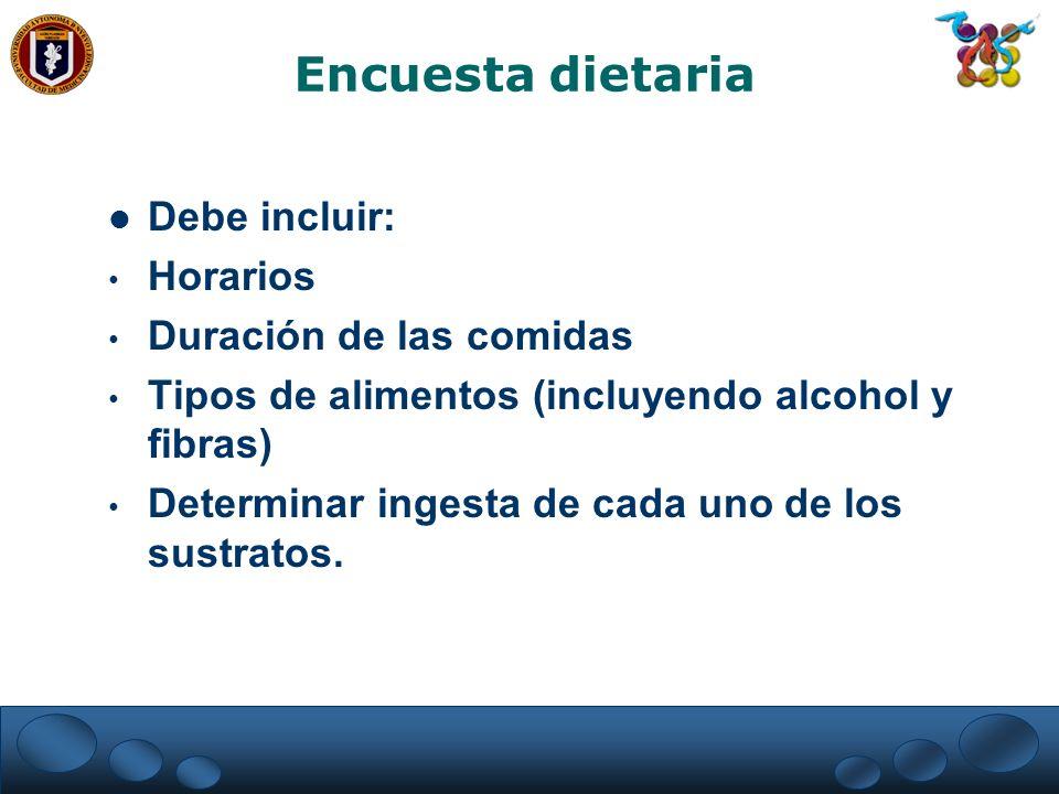 Encuesta dietaria Debe incluir: Horarios Duración de las comidas Tipos de alimentos (incluyendo alcohol y fibras) Determinar ingesta de cada uno de lo