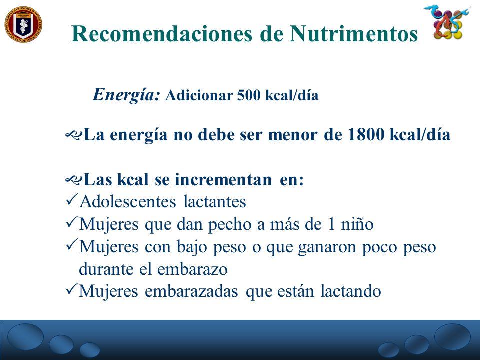 Recomendaciones de Nutrimentos Energía: Adicionar 500 kcal/día La energía no debe ser menor de 1800 kcal/día Las kcal se incrementan en: Adolescentes
