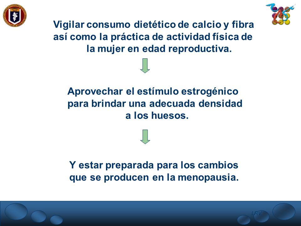 LRV. Vigilar consumo dietético de calcio y fibra así como la práctica de actividad física de la mujer en edad reproductiva. Aprovechar el estímulo est
