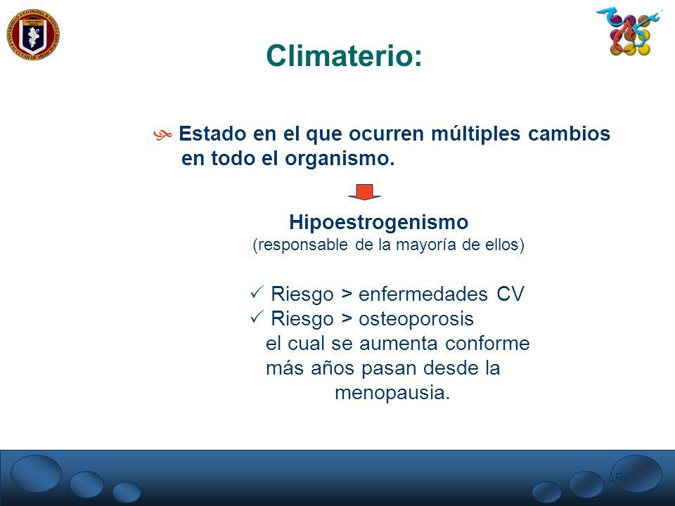 LRV. Climaterio: Estado en el que ocurren múltiples cambios en todo el organismo. Hipoestrogenismo (responsable de la mayoría de ellos) Riesgo > enfer