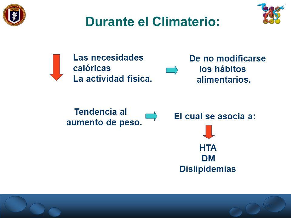 LRV. Durante el Climaterio: Las necesidades calóricas La actividad física. De no modificarse los hábitos alimentarios. Tendencia al aumento de peso. E