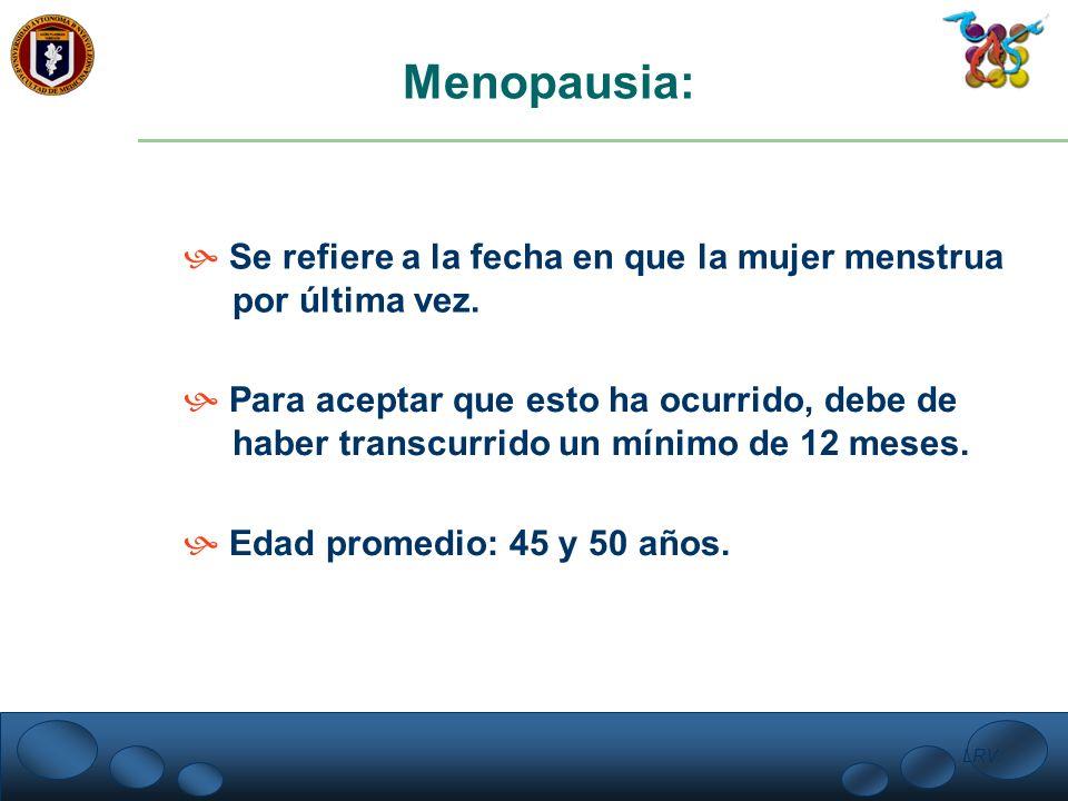 LRV. Menopausia: Se refiere a la fecha en que la mujer menstrua por última vez. Para aceptar que esto ha ocurrido, debe de haber transcurrido un mínim