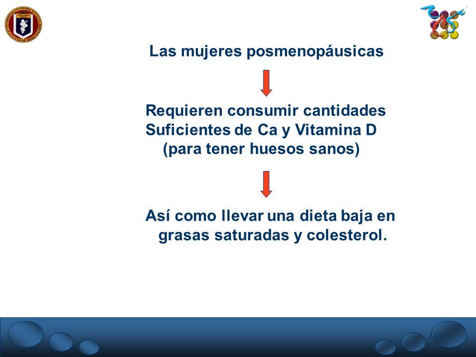 LRV. Las mujeres posmenopáusicas Requieren consumir cantidades Suficientes de Ca y Vitamina D (para tener huesos sanos) Así como llevar una dieta baja