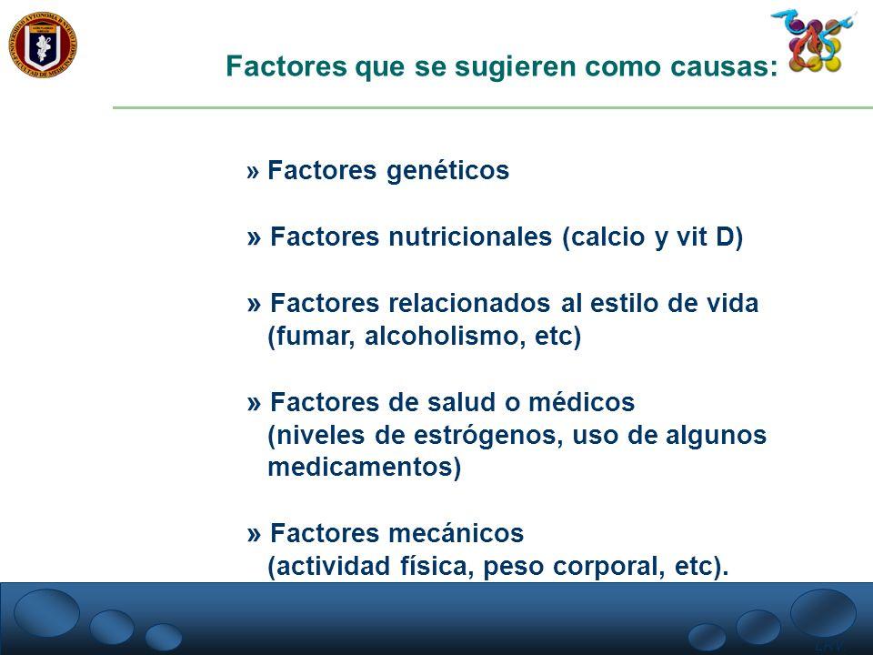 LRV. Factores que se sugieren como causas: » Factores genéticos » Factores nutricionales (calcio y vit D) » Factores relacionados al estilo de vida (f