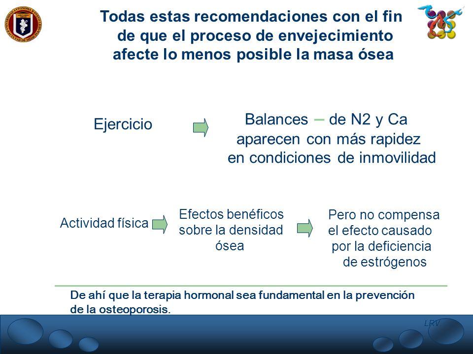 LRV. Todas estas recomendaciones con el fin de que el proceso de envejecimiento afecte lo menos posible la masa ósea Ejercicio Balances – de N2 y Ca a
