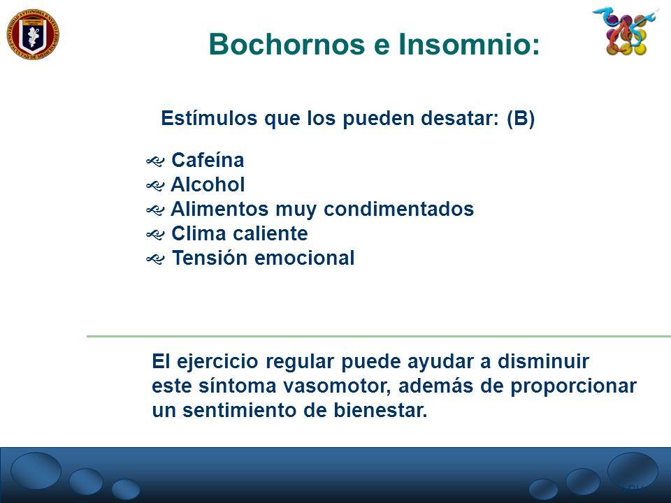 LRV. Bochornos e Insomnio: Estímulos que los pueden desatar: (B) Cafeína Alcohol Alimentos muy condimentados Clima caliente Tensión emocional El ejerc