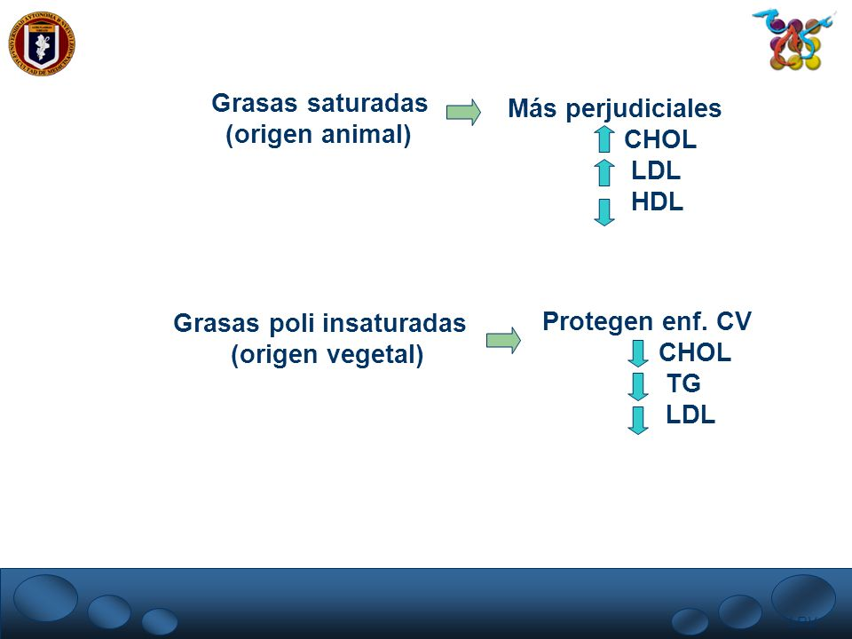 LRV. Grasas saturadas (origen animal) Más perjudiciales CHOL LDL HDL Grasas poli insaturadas (origen vegetal) Protegen enf. CV CHOL TG LDL