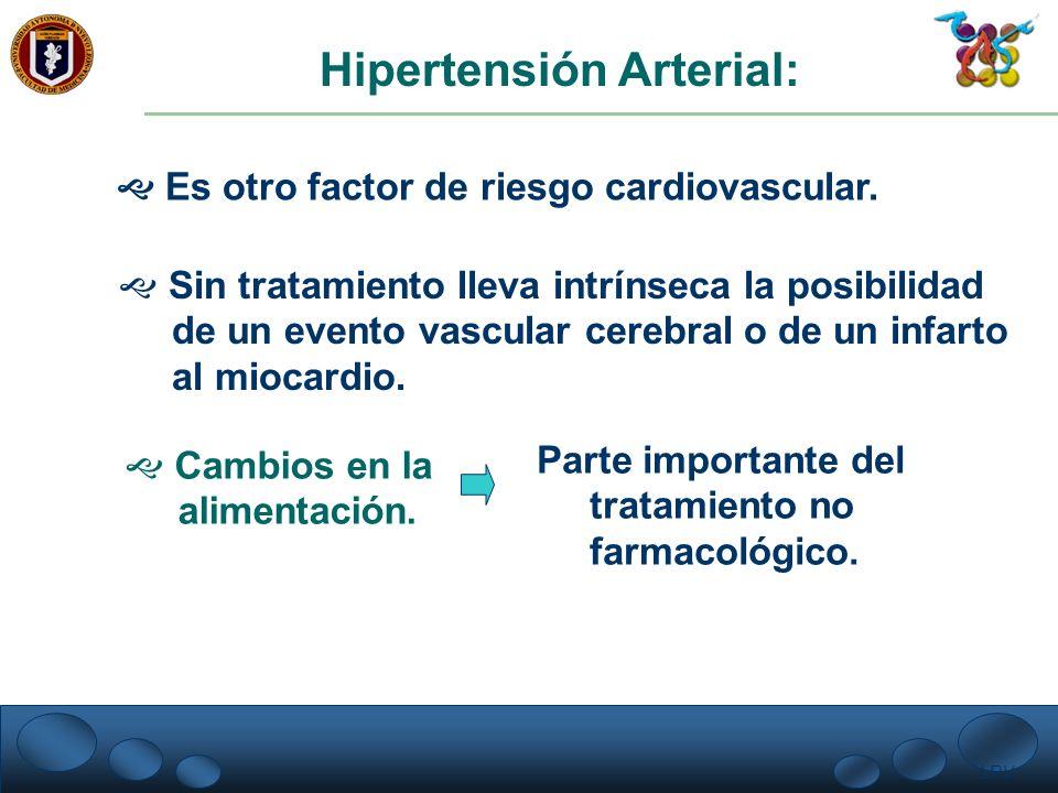 LRV. Hipertensión Arterial: Es otro factor de riesgo cardiovascular. Sin tratamiento lleva intrínseca la posibilidad de un evento vascular cerebral o