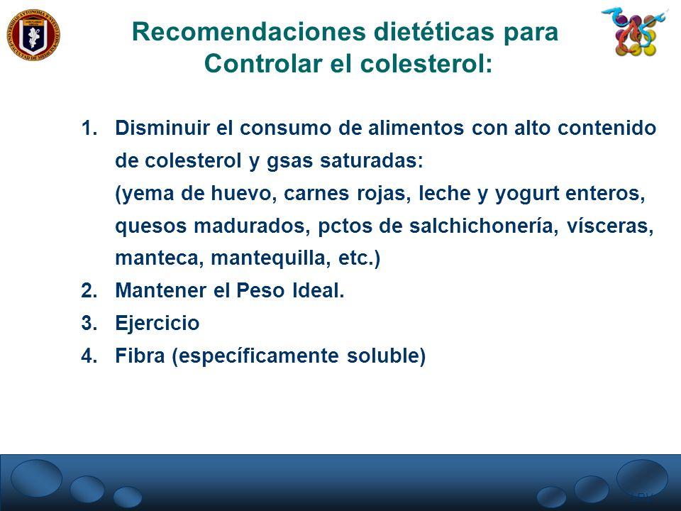 LRV. Recomendaciones dietéticas para Controlar el colesterol: 1.Disminuir el consumo de alimentos con alto contenido de colesterol y gsas saturadas: (