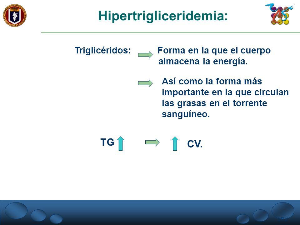LRV. Hipertrigliceridemia: Triglicéridos: Forma en la que el cuerpo almacena la energía. Así como la forma más importante en la que circulan las grasa