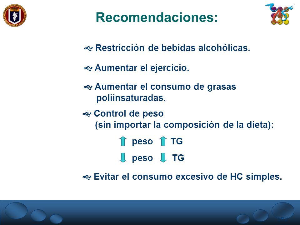 LRV. Recomendaciones: Restricción de bebidas alcohólicas. Aumentar el ejercicio. Aumentar el consumo de grasas poliinsaturadas. Control de peso (sin i