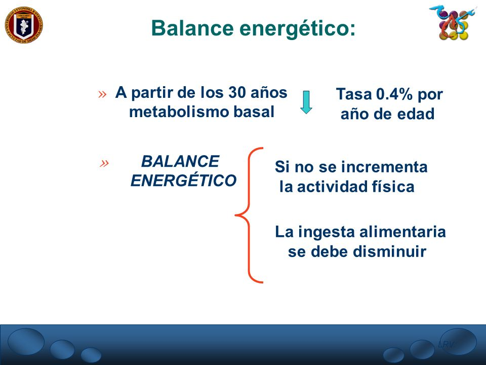 LRV. Balance energético: » A partir de los 30 años metabolismo basal Tasa 0.4% por año de edad » BALANCE ENERGÉTICO Si no se incrementa la actividad f