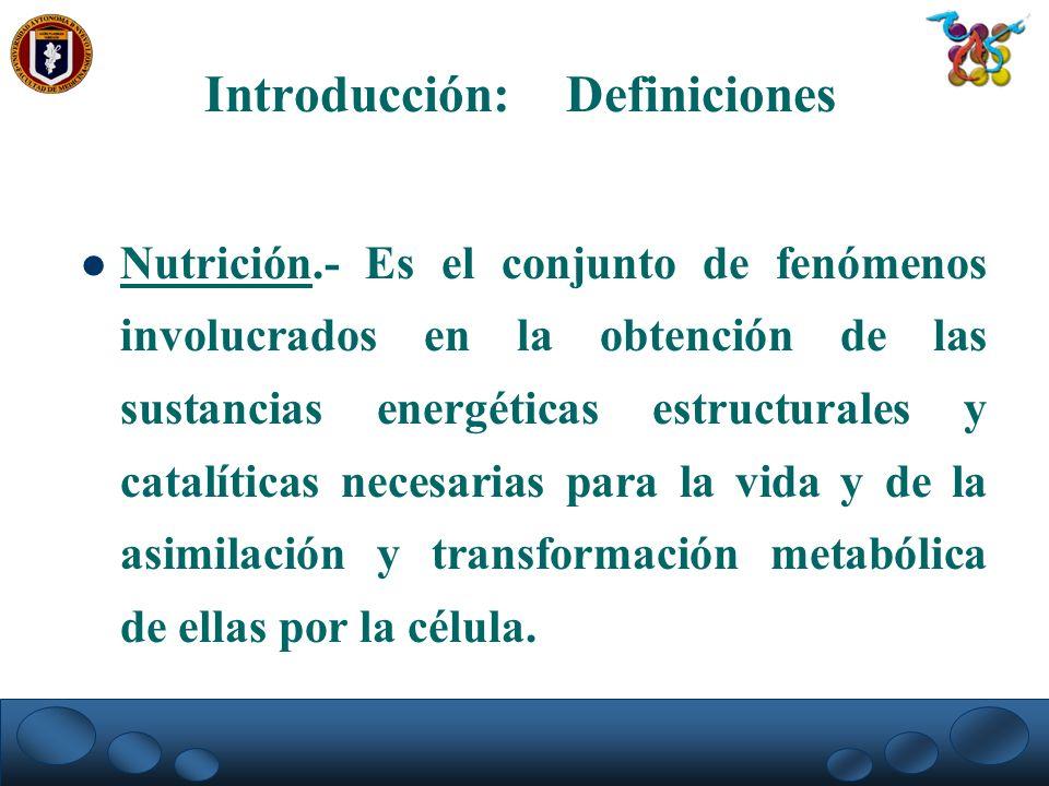 Nutrición.- Es el conjunto de fenómenos involucrados en la obtención de las sustancias energéticas estructurales y catalíticas necesarias para la vida