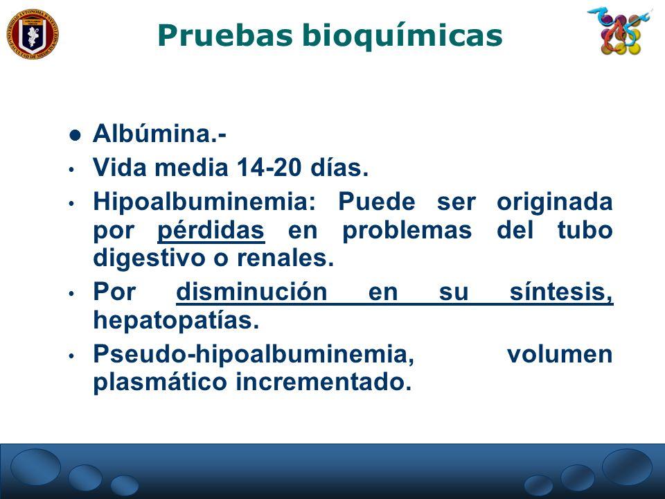 Albúmina.- Vida media 14-20 días. Hipoalbuminemia: Puede ser originada por pérdidas en problemas del tubo digestivo o renales. Por disminución en su s
