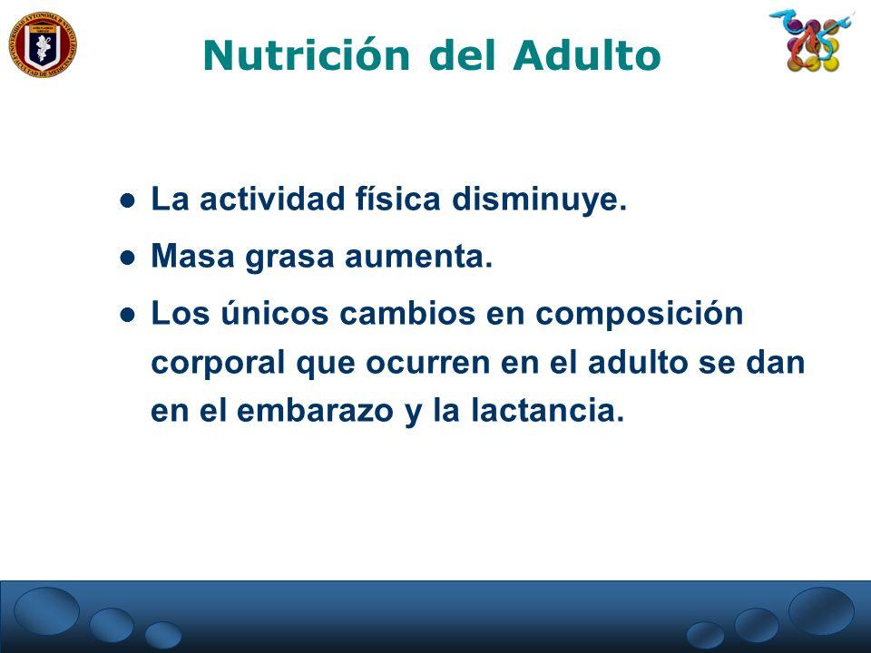 La actividad física disminuye. Masa grasa aumenta. Los únicos cambios en composición corporal que ocurren en el adulto se dan en el embarazo y la lact