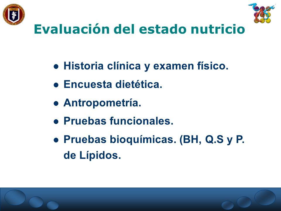 Evaluación del estado nutricio Historia clínica y examen físico. Encuesta dietética. Antropometría. Pruebas funcionales. Pruebas bioquímicas. (BH, Q.S