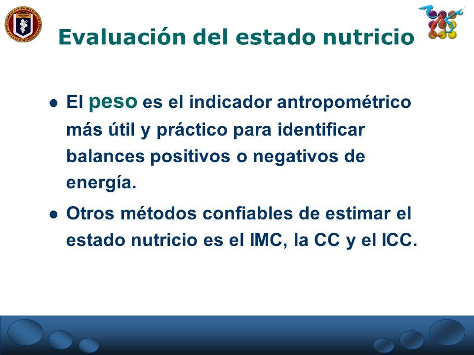 El peso es el indicador antropométrico más útil y práctico para identificar balances positivos o negativos de energía. Otros métodos confiables de est