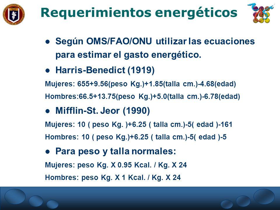 Según OMS/FAO/ONU utilizar las ecuaciones para estimar el gasto energético. Harris-Benedict (1919) Mujeres: 655+9.56(peso Kg.)+1.85(talla cm.)-4.68(ed