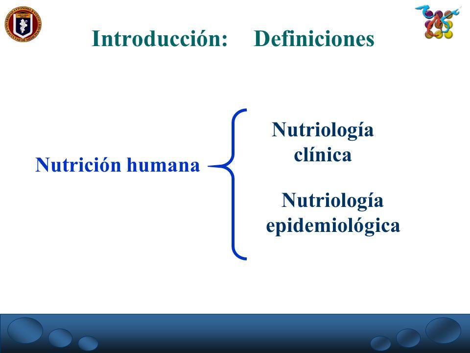 Nutrición humana Introducción: Definiciones Nutriología clínica Nutriología epidemiológica