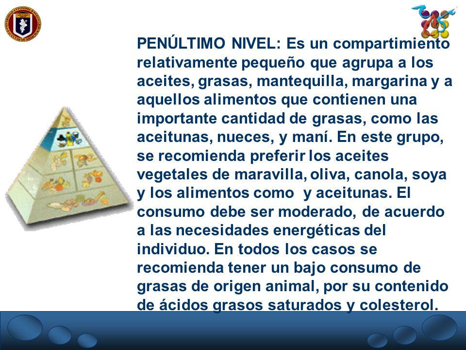 PENÚLTIMO NIVEL: Es un compartimiento relativamente pequeño que agrupa a los aceites, grasas, mantequilla, margarina y a aquellos alimentos que contie