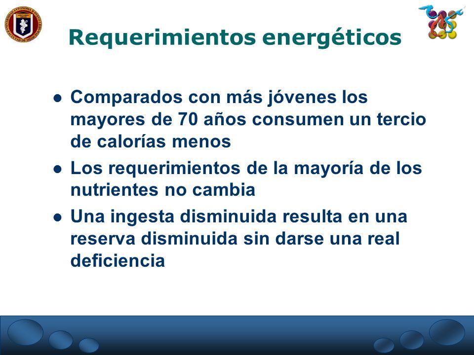 Requerimientos energéticos Comparados con más jóvenes los mayores de 70 años consumen un tercio de calorías menos Los requerimientos de la mayoría de