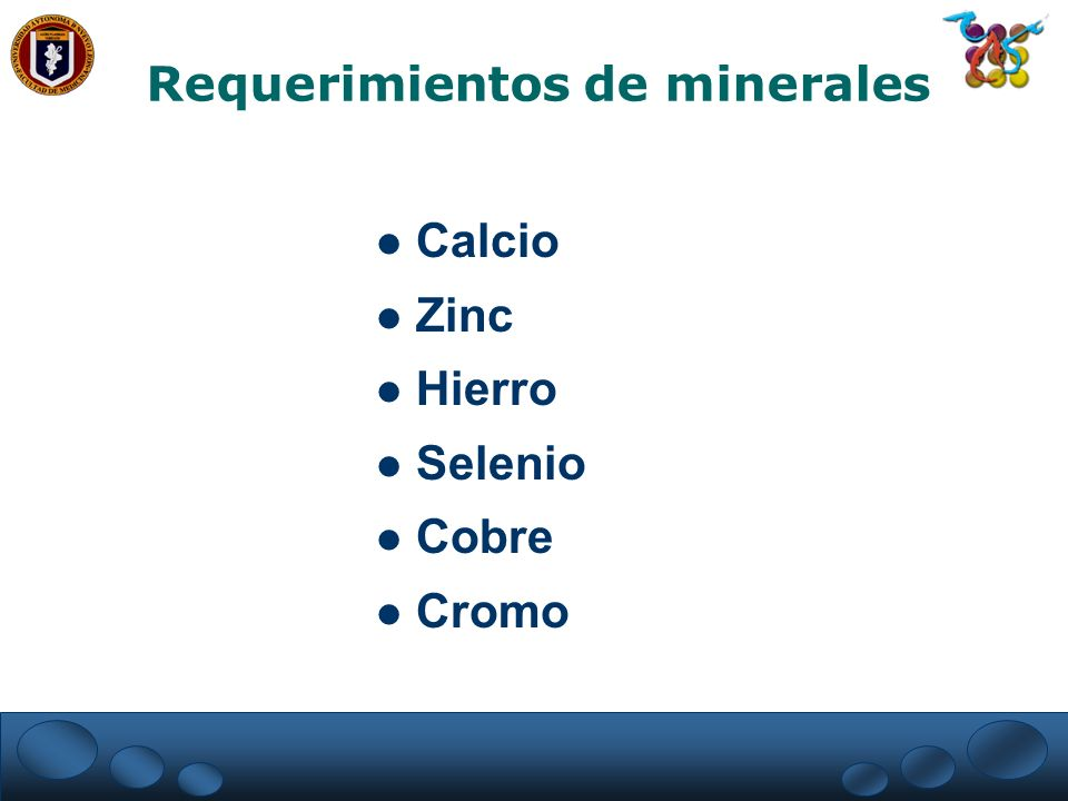 Requerimientos de minerales Calcio Zinc Hierro Selenio Cobre Cromo