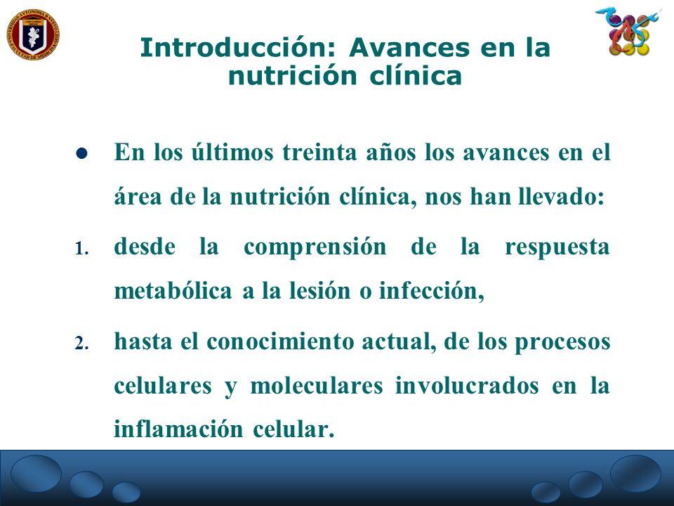 En los últimos treinta años los avances en el área de la nutrición clínica, nos han llevado: 1. desde la comprensión de la respuesta metabólica a la l