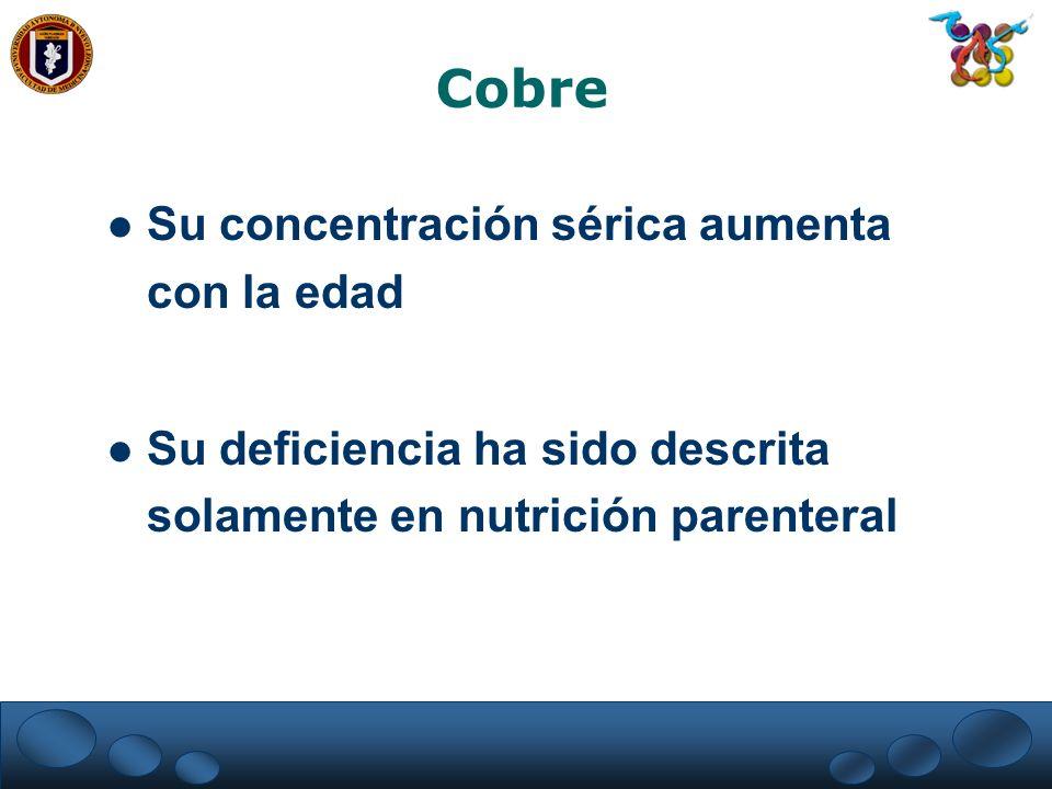 Cobre Su concentración sérica aumenta con la edad Su deficiencia ha sido descrita solamente en nutrición parenteral