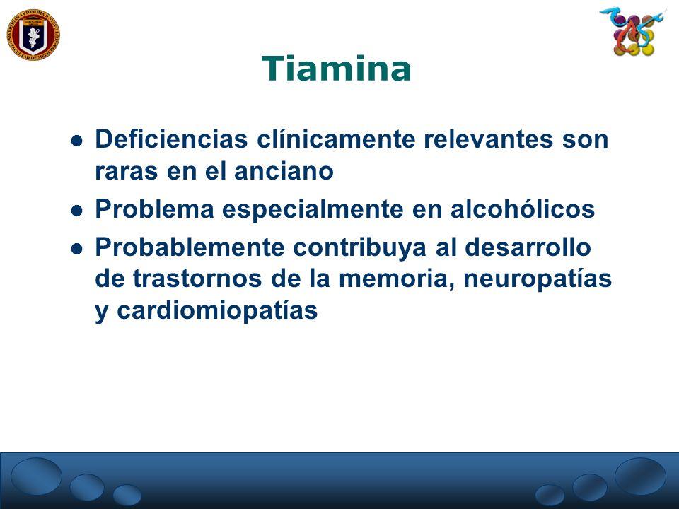 Tiamina Deficiencias clínicamente relevantes son raras en el anciano Problema especialmente en alcohólicos Probablemente contribuya al desarrollo de t