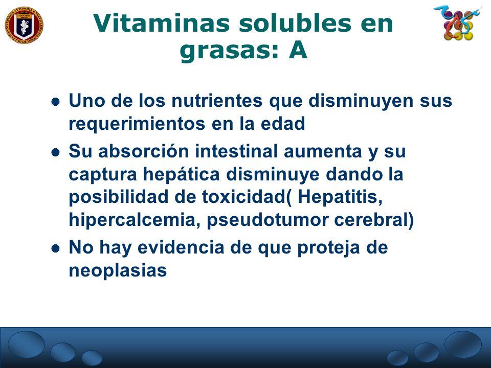Vitaminas solubles en grasas: A Uno de los nutrientes que disminuyen sus requerimientos en la edad Su absorción intestinal aumenta y su captura hepáti