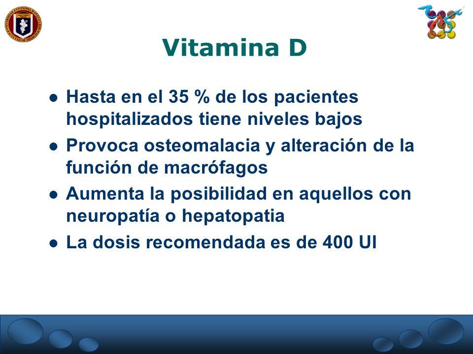 Vitamina D Hasta en el 35 % de los pacientes hospitalizados tiene niveles bajos Provoca osteomalacia y alteración de la función de macrófagos Aumenta