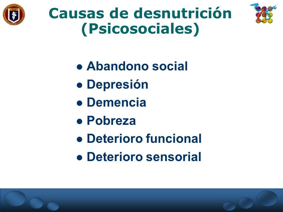 Causas de desnutrición (Psicosociales) Abandono social Depresión Demencia Pobreza Deterioro funcional Deterioro sensorial